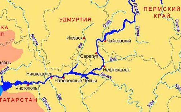 карта Татарстана, река Кама